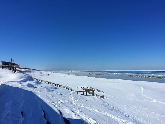 流氷に近いバスターミナルー北見市常呂町