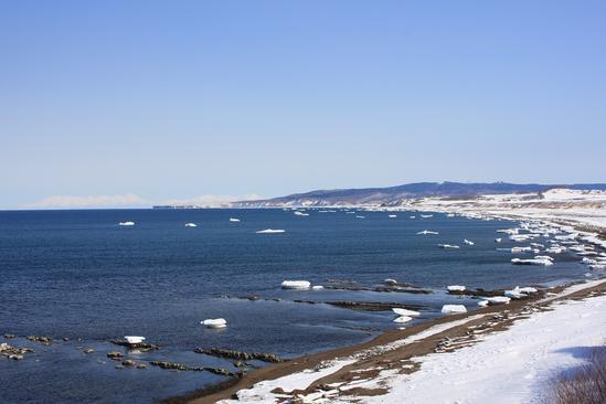 流氷接岸 能取岬 北見市常呂